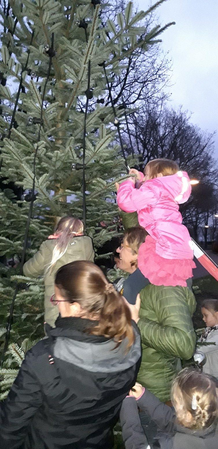 Het ontsteken van de kerstboom